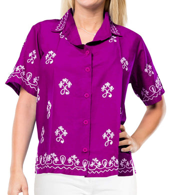Vintage Embroidered Short Sleeve Rayon Blouse Button Down Aloha Shirt Women Blue
