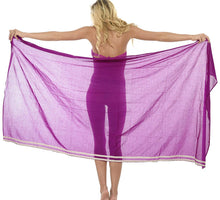 Load image into Gallery viewer, la-leela-cotton-swimsuit-cover-up-long-dress-sarong-solid-78x39-violet_2144