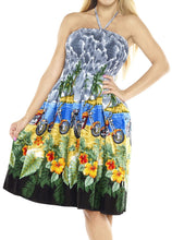 Load image into Gallery viewer, LA LEELA Soft  Printed Tie Dye Maxi Tube Halter Dresses Top Grey 3398 One Size