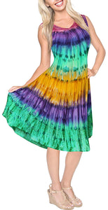 La Leela Smooth Rayon Swirl Hand Tie dye Embroidered Casual Short Beach Dress
