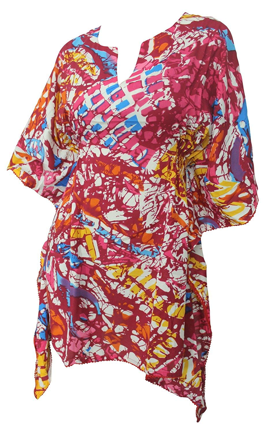 LA LEELA Soft fabric Printed Tassel Swim Cover Up OSFM 8-14 [M-L] Pink_2232