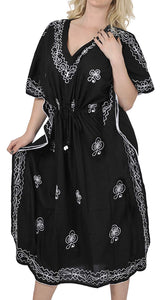 LA LEELA Rayon Solid 2 Women's Kaftan Kimono Nightgown Dress Beachwear Cover up