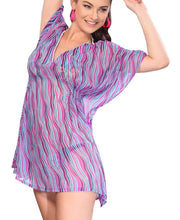 Load image into Gallery viewer, la-leela-chiffon-printed-loose-blouse-cover-up-osfm-8-14-m-l-purple_5253