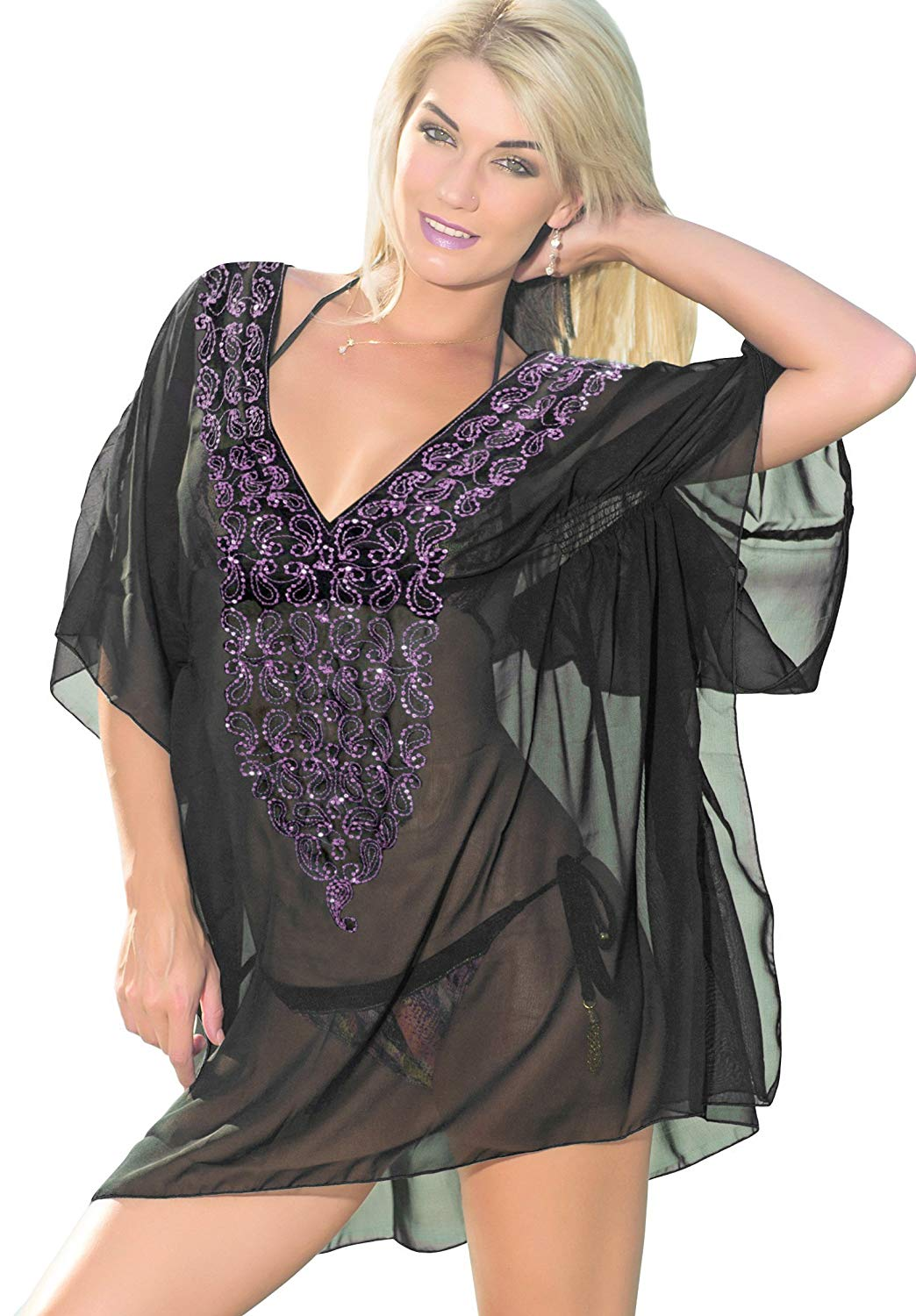 LA LEELA Bikini Swim Beach Swimsuit Cover up Women Caftan Dresses Embroidery