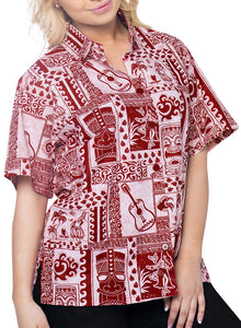LA LEELA Women's Summer Beach Button Down Short Sleeve Camp Casual Blouse Turtle