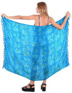 LA LEELA Womens Beach Swimsuit Cover Up Sarong Swimwear Cover-Up Wrap Skirt Plus Size Large Maxi FO