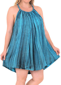 Rayon Tie Dye Women's Beachwear Cover up Bikini Swimwear Caftan Dress Turquoise