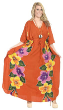 Load image into Gallery viewer, LA LEELA Printed Long Maxi Dress Plus Size Swimwear Bathing Suit Cover up Caftan