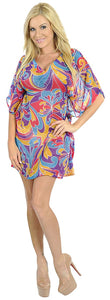 LA LEELA Womens Beach Party Casual Smoked Swing Stretchy Tube Sun Dress Printed