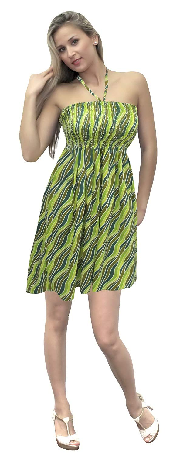 la-leela-soft-printed-hawaiian-casual-backless-tube-dress-green-858-one-size