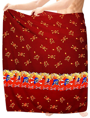 LA LEELA Beach Wear Mens Sarong Pareo Wrap Cover upss Bathing Suit Beach Towel Swimming Red