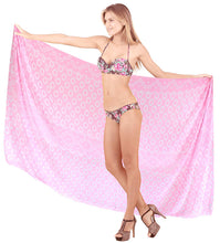 Load image into Gallery viewer, LA LEELA Women Bikini Cover up Wrap Swimwear Sarong Satin_Stripe ONE Size