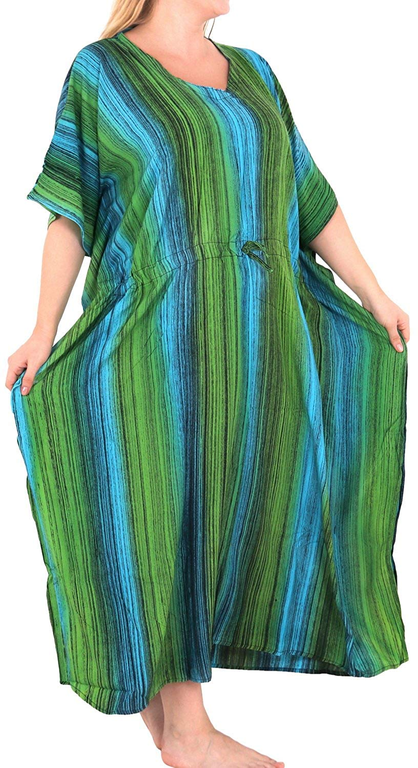 Women's Tie Dye Beachwear Sleeveless Rayon Casual Caftan Multi Cover up Green