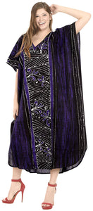 LA LEELA Cotton Batik 08 Women's Kaftan Kimono Summer Beachwear Cover up Dress