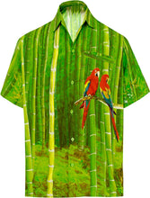 Load image into Gallery viewer, LA LEELA Shirt Casual Button Down Short Sleeve Beach  parrot printed Shirt Men Pocket HD Green