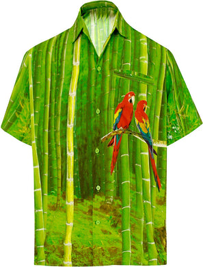 LA LEELA Shirt Casual Button Down Short Sleeve Beach  parrot printed Shirt Men Pocket HD Green