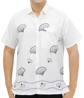 LA LEELA Shirt Casual Button Down Short Sleeve Beach Shirt Men Embroidered 125