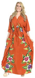 LA LEELA Printed Ladies Caftan Plus Size Cover up Dress Long Kaftan Loungewear