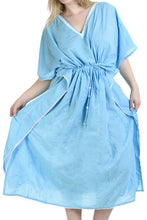 Load image into Gallery viewer, LA LEELA Rayon 8 Solid Women's Kaftan Style Beachwear Cover up Nightgown Dress