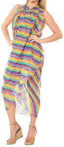 LA LEELA Women's Beachwear Bikini Wrap Cover up Swimsuit Dress Sarong 9 ONE Size