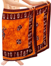 Load image into Gallery viewer, LA LEELA Hand Batik Beachwear Cover ups Hawaiian Wrap Mens Sarong Swimwear