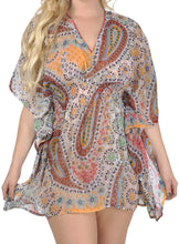 Load image into Gallery viewer, la-leela-v-neck-paisley-printed-kaftan-tube-swim-caftan-cover-up-multi-medium