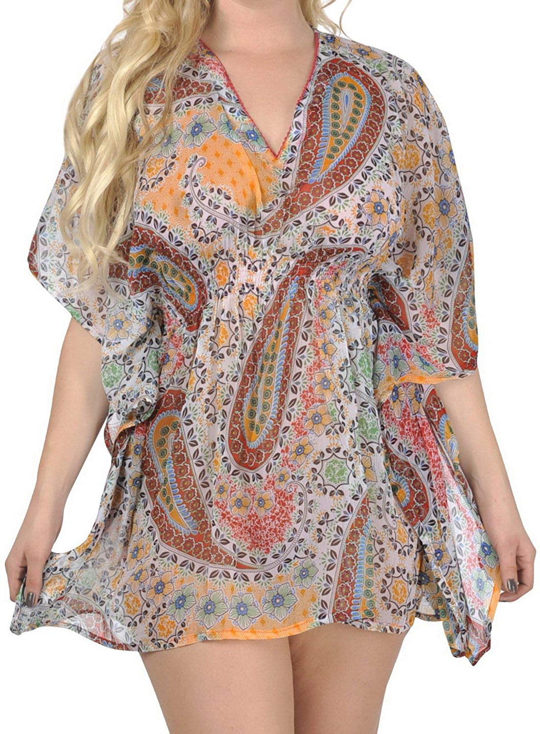 la-leela-v-neck-paisley-printed-kaftan-tube-swim-caftan-cover-up-multi-medium