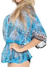 Load image into Gallery viewer, LA LEELA Chiffon Printed Bikini Cover Up Swimsuit OSFM 8-14 [M-L] Blue_731 Blue_E852
