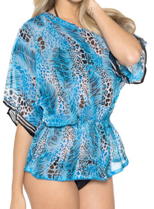 LA LEELA Chiffon Printed Bikini Cover Up Swimsuit OSFM 8-14 [M-L] Blue_731 Blue_E852