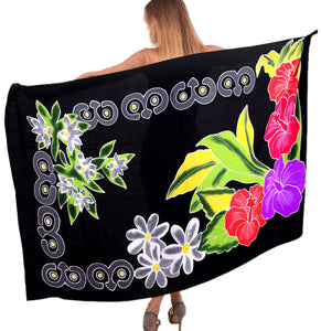 la-leela-bathing-towel-beach-womens-sarong-bikini-cover-up-Black-Floral-printed