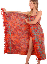 Load image into Gallery viewer, la-leela-bathing-suit-tie-slit-sarong-bikini-cover-up-printed-70x43-orange_4634