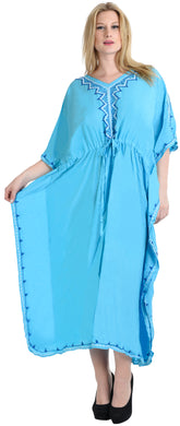 LA LEELA Lounge Rayon Solid Long Caftan Nightgown Women OSFM 16-32W [XL- 5X] Turquoise_S954