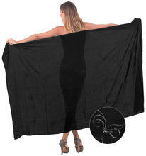 "Load image into Gallery viewer, LA LEELA Swimsuit Skirt Wear Sarong Bikini Cover up Solid 78""X43"" Black_4095"