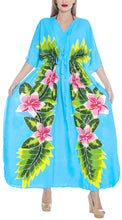 Load image into Gallery viewer, la-leela-lounge-caftan-rayon-printed-sleep-dress-girls-osfm-12-20-l-2x-turquoise_3604