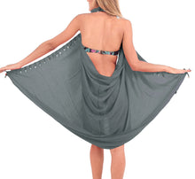 Load image into Gallery viewer, la-leela-swimwear-wrap-pareo-sarong-bikini-cover-up-solid-70x43-turquoise_5106