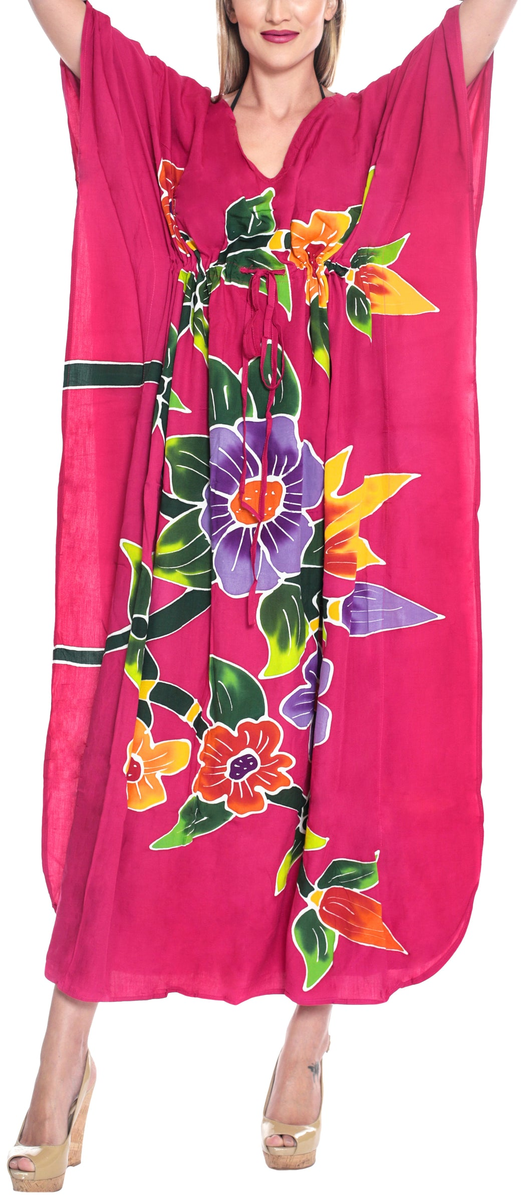 la-leela-lounge-rayon-printed-cover-up-swimwear-boho-long-caftan-pink-243-one-size