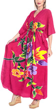 Load image into Gallery viewer, la-leela-lounge-rayon-printed-cover-up-swimwear-boho-long-caftan-pink-243-one-size