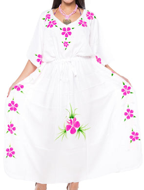 LA LEELA Lounge Rayon Printed Long Caftan Vacation Girls White_4064 OSFM 12-20W [L-2X]