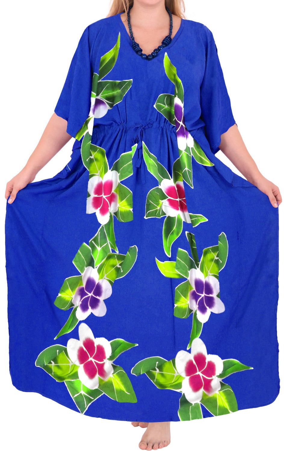 Women's Beachwear Swimwear Rayon Evening Swimsuit Caftan Casual Cover ups Blue