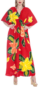 LA LEELA Lounge Rayon Printed Vacation Caftan Womens Party Top Red 237 One Size