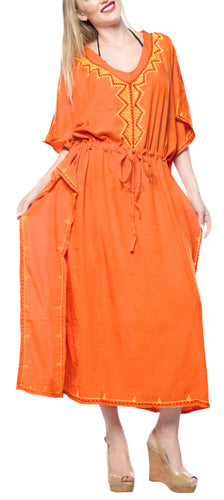 LA LEELA Rayon Solid Caftan Beach Dress Nightwear Women Orange_4074 OSFM 12-20W