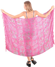 "Load image into Gallery viewer, LA LEELA Bathing Suit Wrap Beach Sarong Bikini Cover up Printed 62""X43"" Pink_4679"