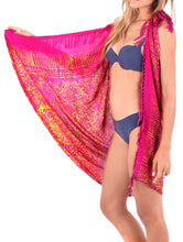 Load image into Gallery viewer, la-leela-wrap-pareo-swimsuit-women-sarong-bikini-cover-up-printed-62x43-pink_4889