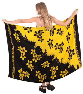 la-leela-bathing-towel-beach-wear-swimsuit-womens-Wrap Skirt-sarong-bikini-cover-up-Floral-printed-Black-yellow