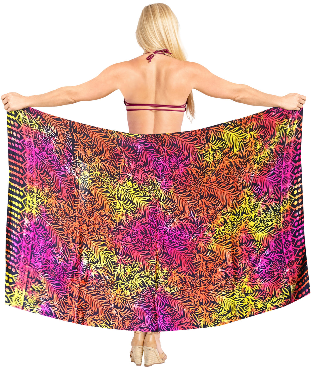la-leela-bathing-towel-beach-wear-swimsuit-womens-Wrap Skirt-sarong-bikini-cover-up-Leaf-Printed-multicolor