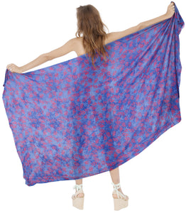 "LA LEELA Rayon Bikini Cover Up Sarong Bikini Cover up Printed 78""X43"" Blue_4419"