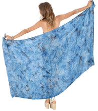 "Load image into Gallery viewer, LA LEELA Rayon Beach Swimsuit Girls Sarong Bikini Cover up Printed 78""X43"" Blue_4426"