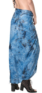 "LA LEELA Rayon Beach Swimsuit Girls Sarong Bikini Cover up Printed 78""X43"" Blue_4426"