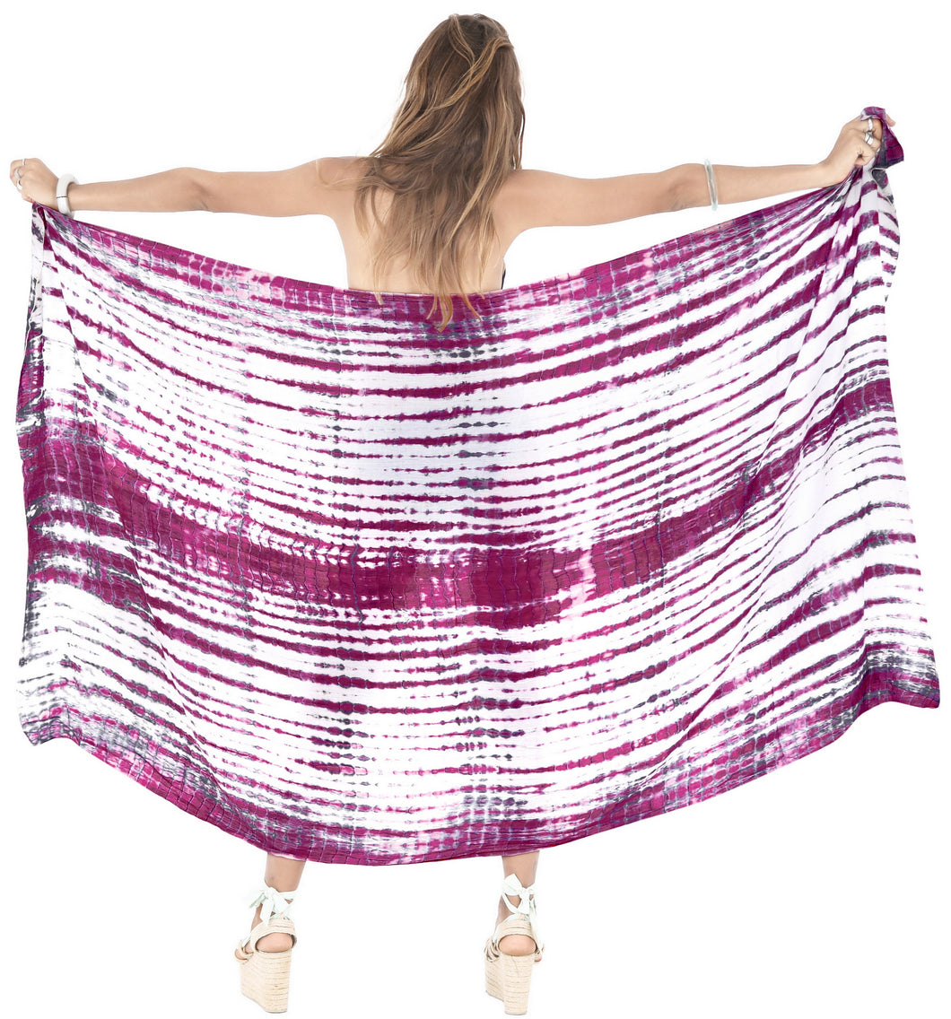 LA LEELA Wrap Bathing Suit Women Sarong Bikini Cover up Tie Dye 78