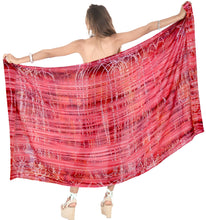 Load image into Gallery viewer, la-leela-tie-slit-pareo-women-beach-sarong-bikini-cover-up-tie-dye-78x43-red_4448